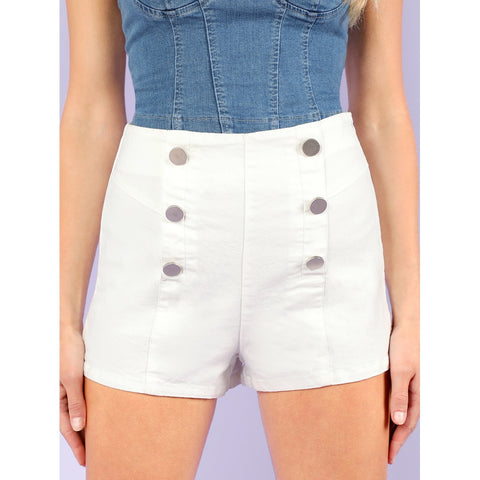 White Denim Shorts With Buttons