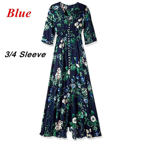 Day Dresses - Women's Trendy V-Neck Short Sleeve Maxi Dress