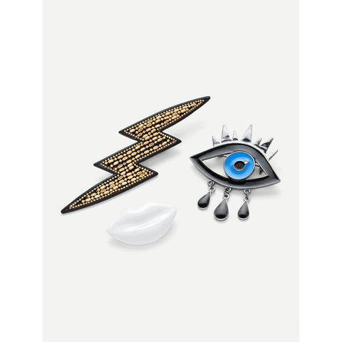 Lip Eye Brooches Set 3pcs