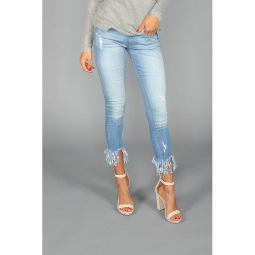 Skinny Cropped Frayed Jeans
