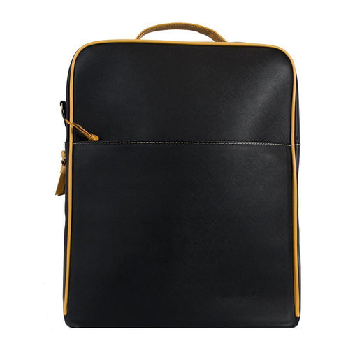 Black Leather Zippered Backpack