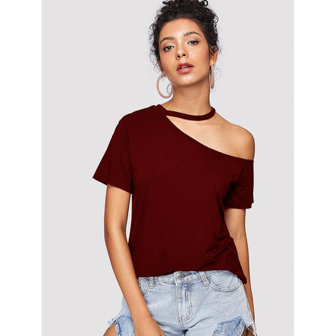 Burgundy Cut Out Choker One Shoulder Tee