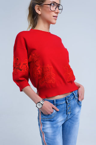 Red Sleeves Short Sweater