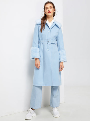 Faux Fur Detail Longline Coat