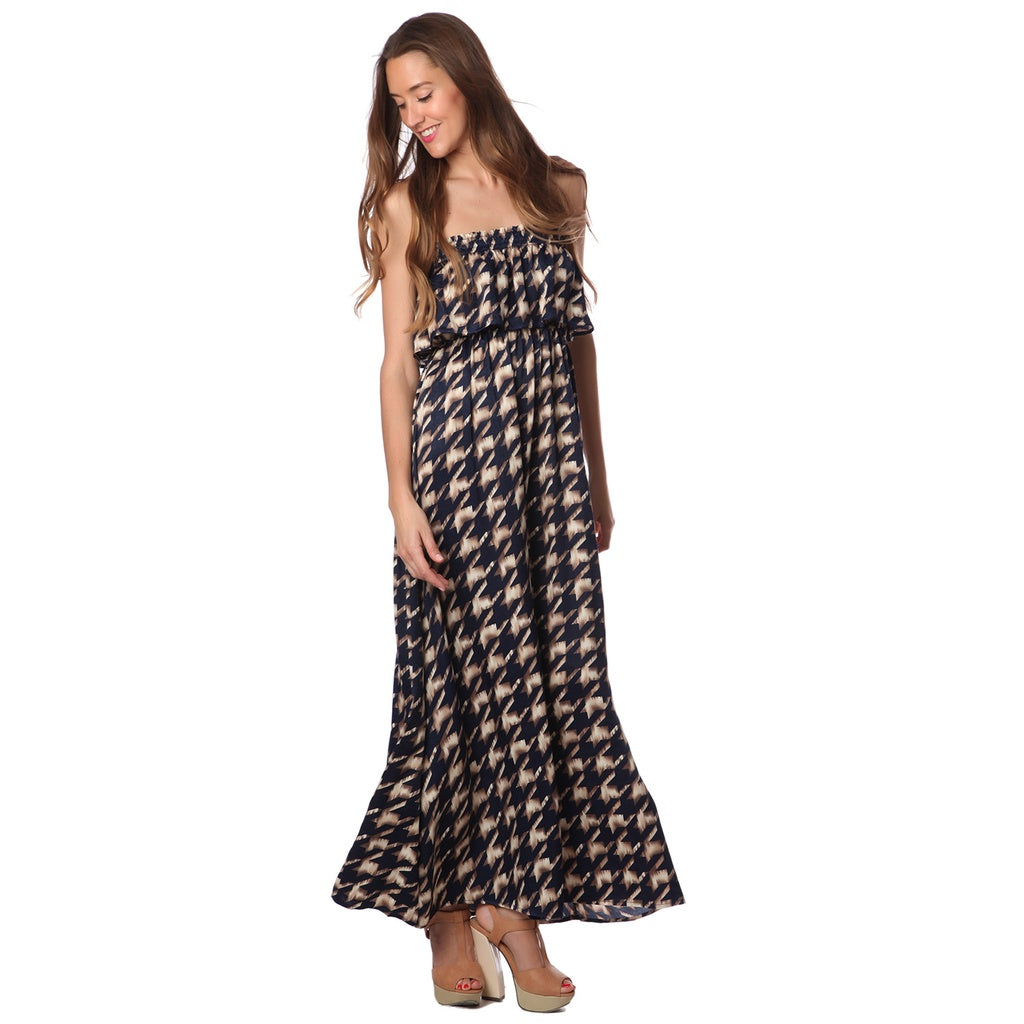 Blue Print Maxi Dress - Fashiontage