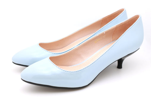 Pearl Patent Pumps (Light Blue)