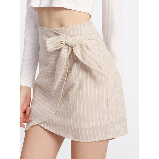 Apricot Striped Above Knee Asymmetric Skirt