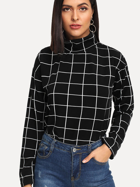 Black Mock-Neck Grid Print Top