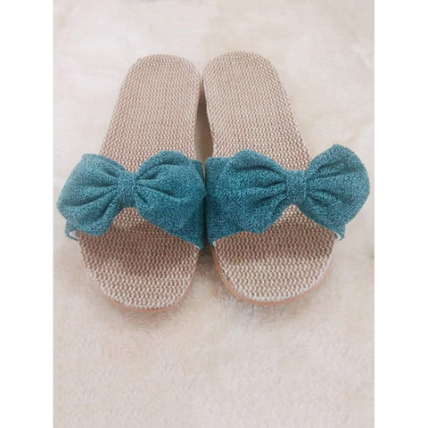 Green Bow Casual Slippers