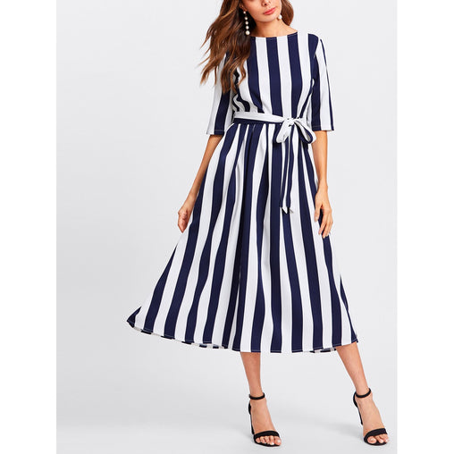 Multicolor Button Keyhole Back Self Belt Vertical Striped Dress