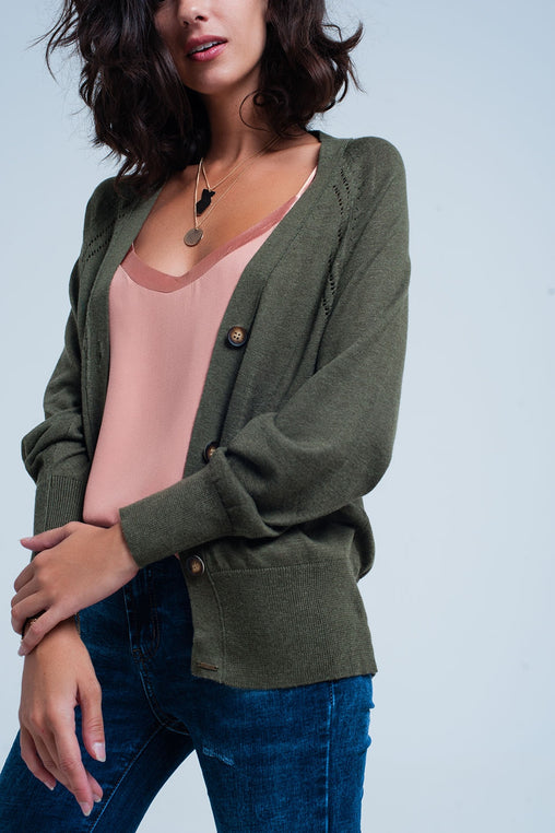 Green Sleeves Knit Sweater