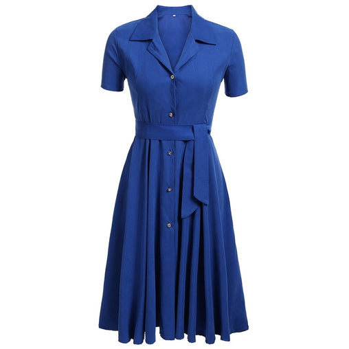 Collar Buttons Front Belted Solid Dress
