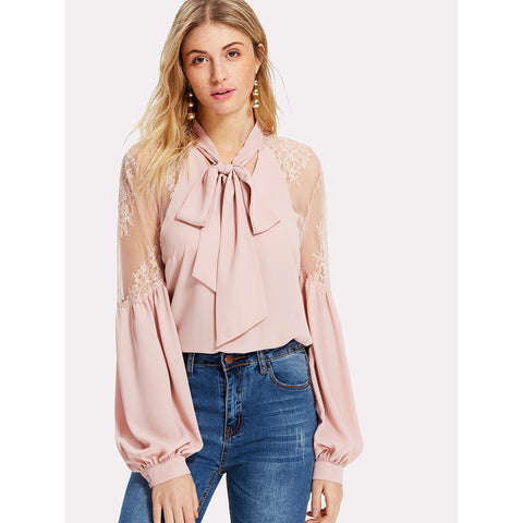 Shirts & Jersey Shirts - Women's Trendy Pink Tie Neck Lace Shoulder Lantern Sleeve Blouse