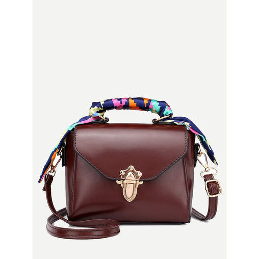 Burgundy Twilly Scarf Push Lock Shoulder Bag