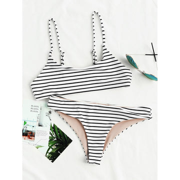 Black And White Striped Bikini Set
