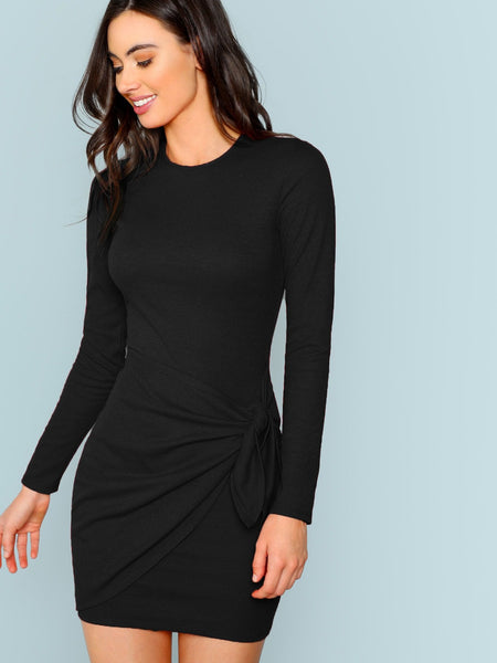 Knotted Front Fitted Dress