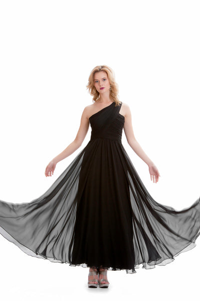 Black Silk Partial Shoulder Evening Dress