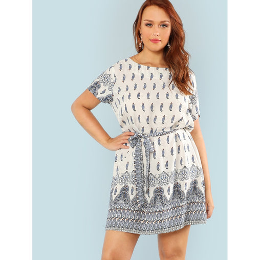 White Tribal Print Tunic Dress
