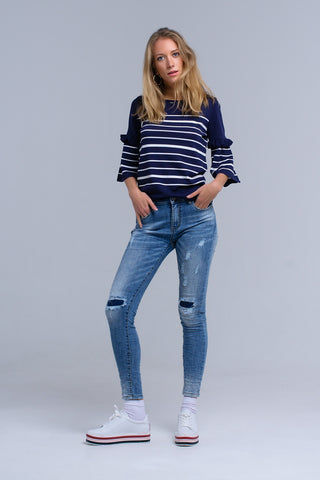Skinny Jeans - Women's Trendy Blue Skinny Pocket Jeans