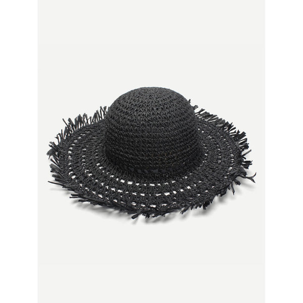 - Women's Trendy Black Raw Edge Straw Hat
