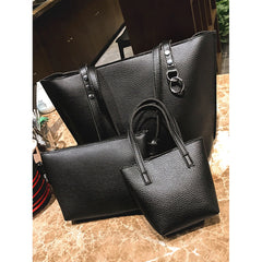 Black Faux Leather Combination Bag 4pcs