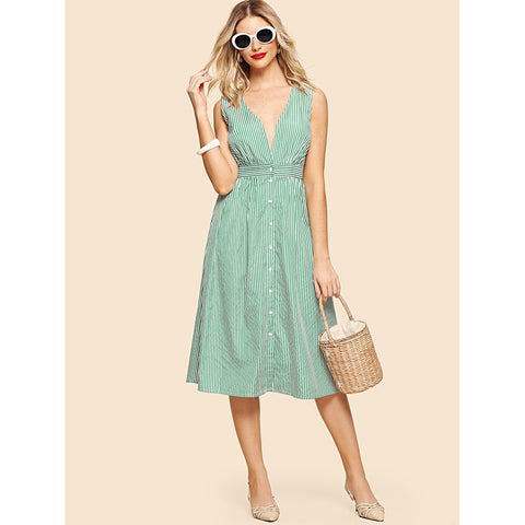 Green Pinstriped Button Up Dress