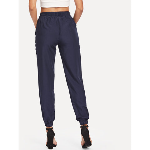 Tapered Pants - Women's Trendy Blue Drawstring Waist Knot Pants
