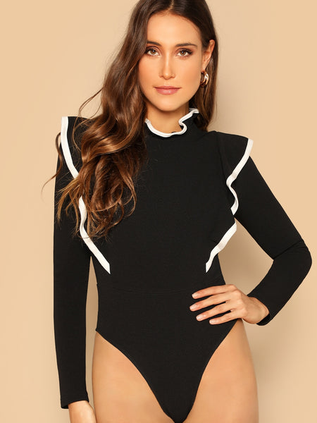 Black Contrast Trim Ruffle Trim Bodysuit