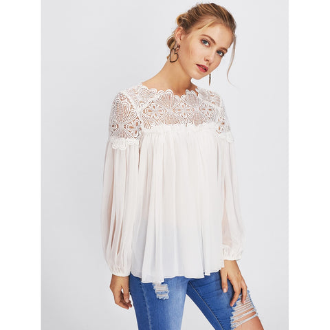 Blouses - Women's Trendy White Guipure Lace Yoke Semi Sheer Smock Top