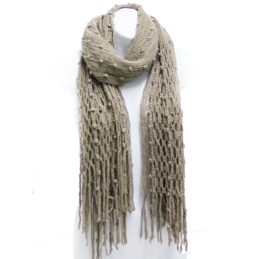 Khaki Winter Knit Fish Net Weave Oblong Scarf with Fringe