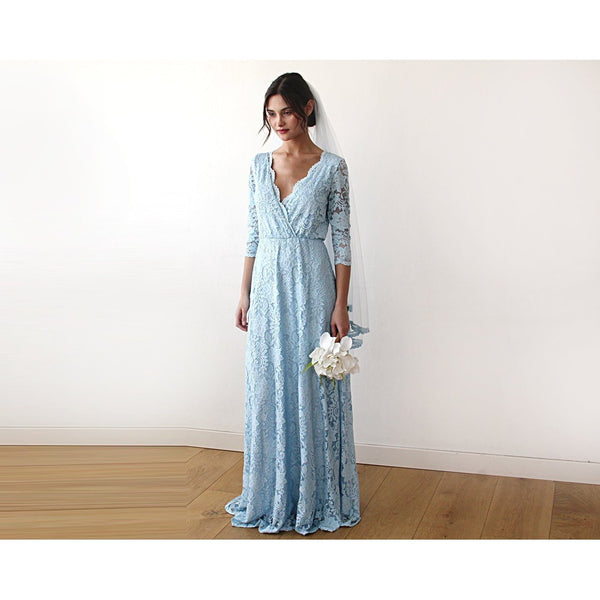 Blue V-Neck Sleeves Maxi Dress