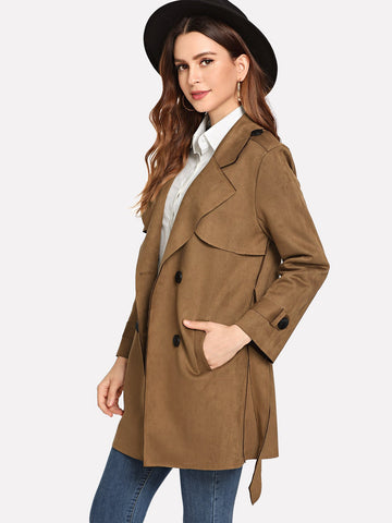 Brown Plain Double Breasted Epaulette Coat