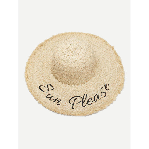 Khaki Embroidered Letter Print Straw Hat