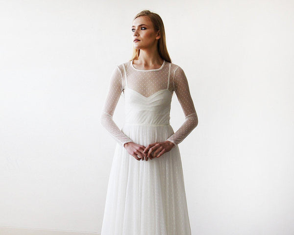 Ivory Round Neck Long Sleeve Bridal Dress