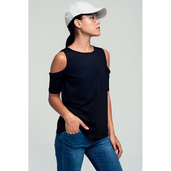 Shirts & Jersey Shirts - Women's Trendy Black Crew Neck Short Sleeve T-Shirt