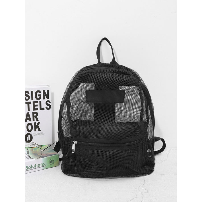 Black Front Pocket Mesh Backpack