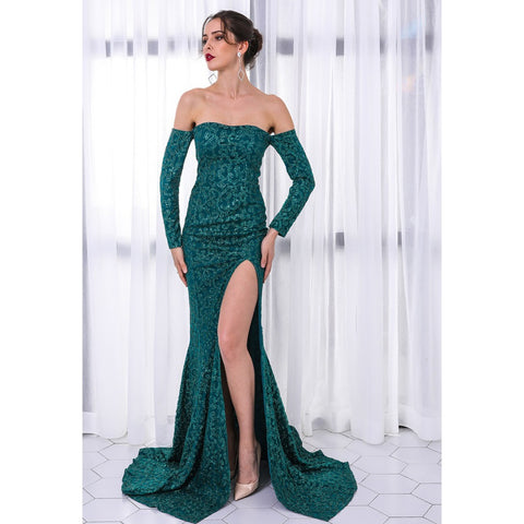 Emerald Green Off Shoulder Ball Gown