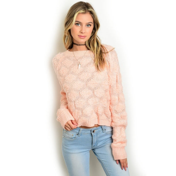 Blouses - Women's Trendy Peach Geometric Knit Blouse