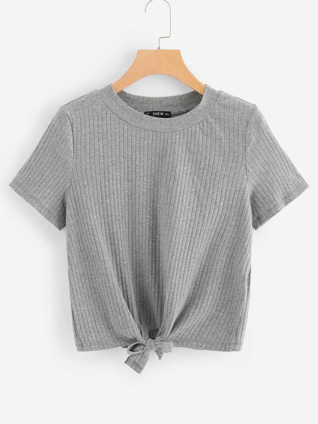 Grey Knot Front Solid Ribbed T-Shirt
