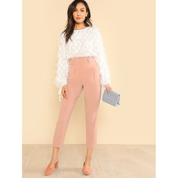 Frilled High Rise Pleated Front Pants - Fashiontage