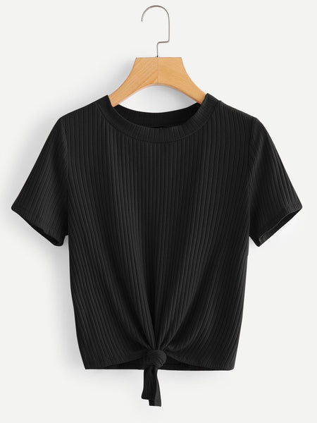 Black Knot Front Solid Ribbed T-Shirt