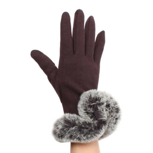 Cotton Gloves With Faux Fur Cuff  Smart Phone Glove