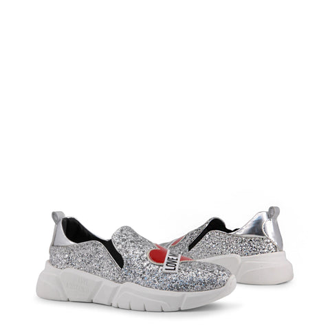 Pumps - Women's Trendy Love Moschino Grey Slipon Leather Sneakers