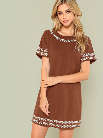 Brown Embroidered Trim Tunic Dress