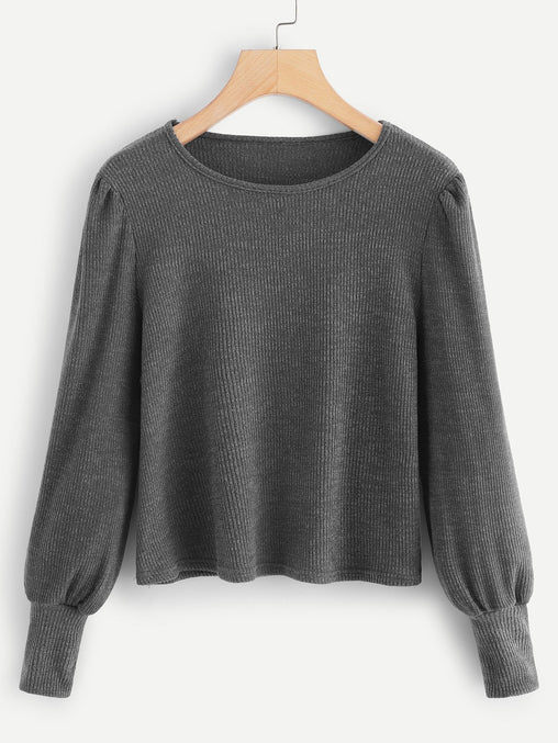 Grey Lantern Sleeve Solid Sweater