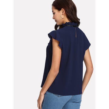 Bow Tied Frilled Neck Button Back Blouse - Fashiontage