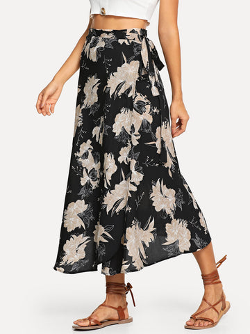 Pleated Skirts - Women's Trendy Multicolor Floral Print Knot Side Skirt