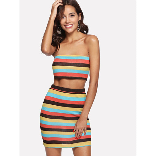 Multicolor Striped Bandeau Crop Top and Skirt Set
