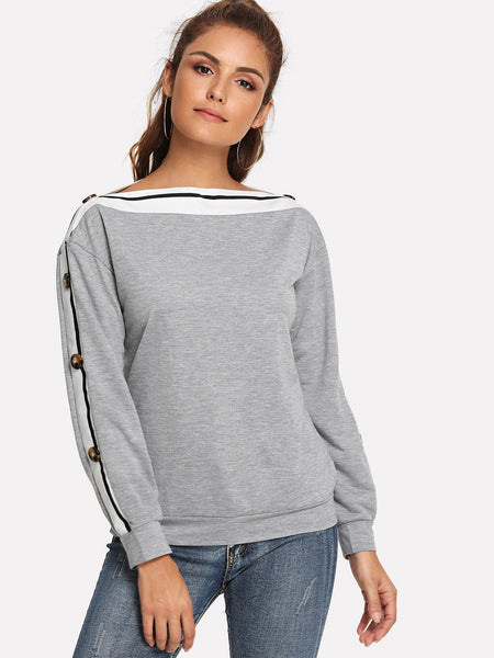 Button Side Contrast Taped Sweatshirt