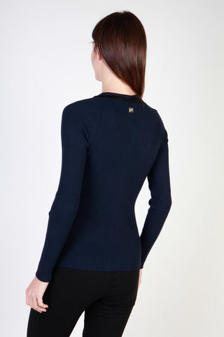 Cavalli Class Blue V-Neck Long Sleeve Sweater